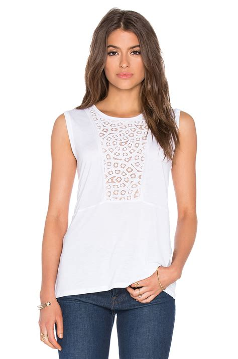 Barrow White Lace Tank bcbgmaxazria kensey lace tank in white lyst