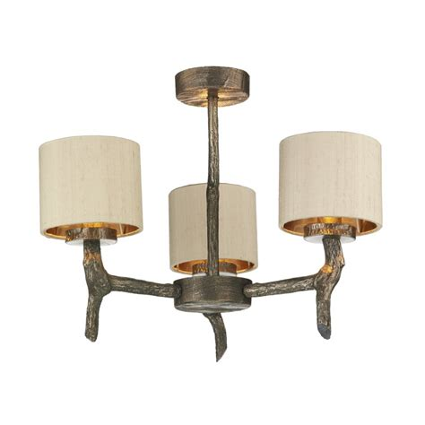 Wooden Ceiling Light Shades Rustic Bronze Ceiling Light With Wooden Effect Taupe Shades Included