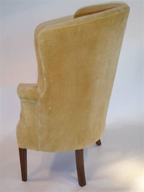 Velvet Wingback Chair by Architectural High Back Tufted Velvet Wingback Chair At
