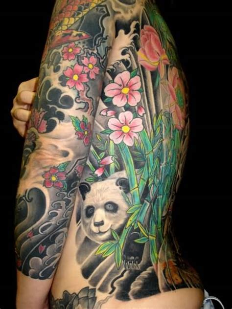 panda flower tattoo 88 panda sleeve tattoos