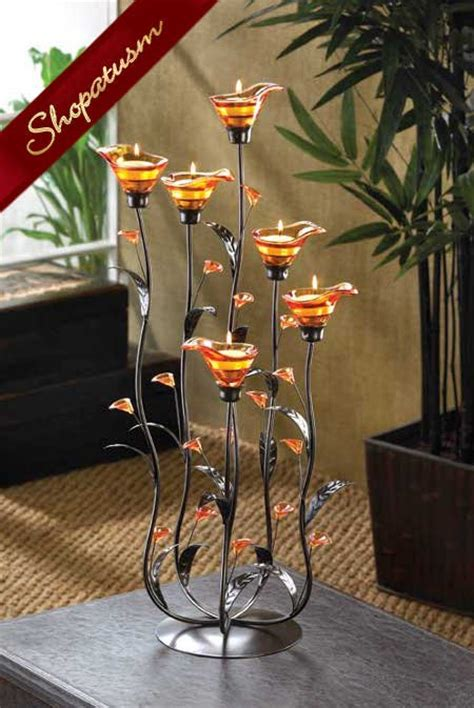 12 large wedding centerpieces amber calla lily candle holders