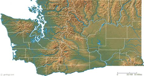 a physical map of washington washington physical map and washington topographic map