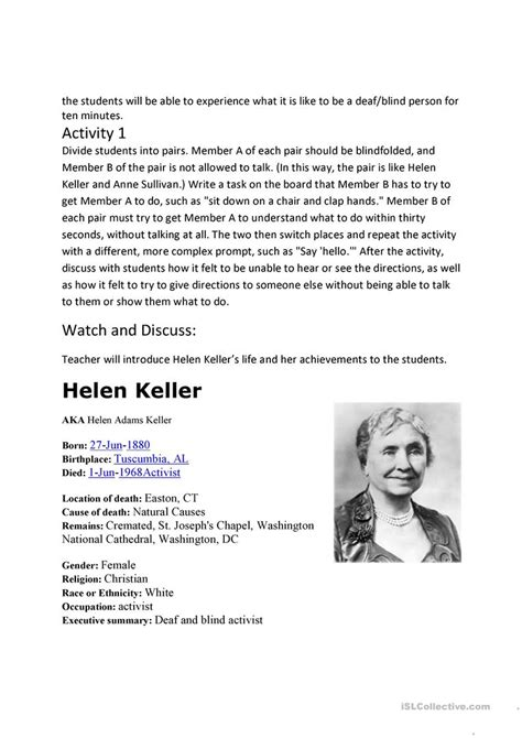 helen keller biography activities worksheets helen keller worksheets atidentity com free