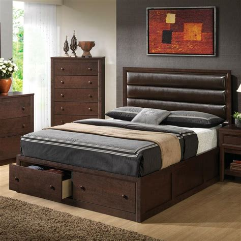 King Platform Bed With Storage by Leather Like Pillow Back King Platform Storage Bed Bedroom