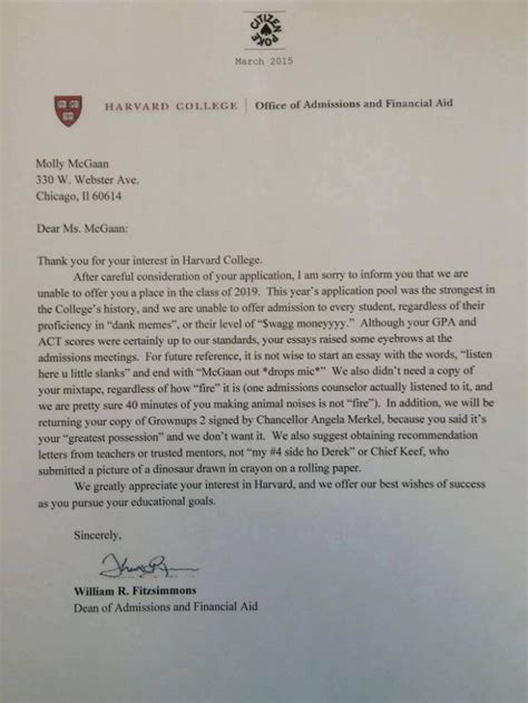 Rejection Letter Harvard harvard rejection letter has much swag to be real bdcwire