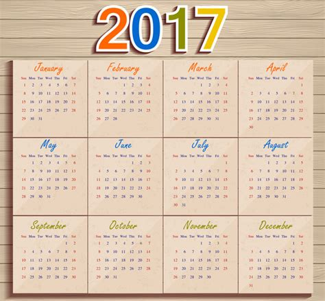 calendar template for adobe illustrator calendar 2017 templates paper on wooden background free