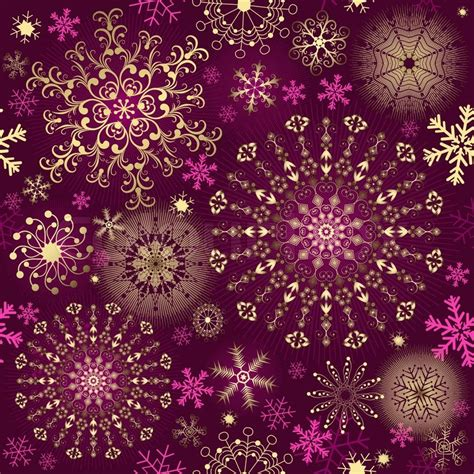 christmas purple seamless pattern with gold and pink
