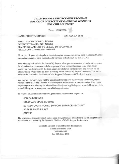 Child Support Notification Letter I Child Support Enforcement 21 916020 00 7a The Record