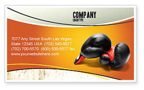Free Boxing Fight Card Template by Boxing Gloves Business Card Template Layout