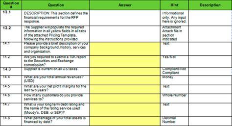 Procurement Matrix Template Rfp Response Template Rfp Template Word Sle Rfp Requirements Compliance Matrix Template