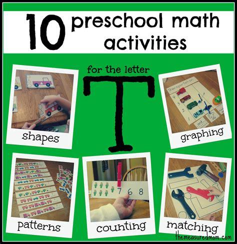 preschool activities 10 preschool math activities the letter t the measured