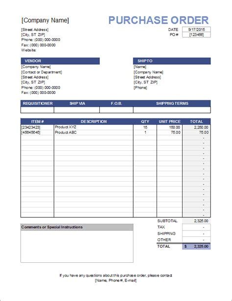 Purchase Order Template Purchase Order Form Template