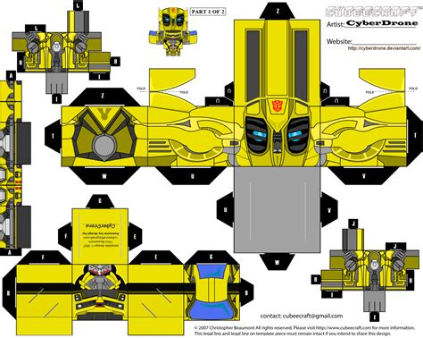 How To Make A Paper Transformer Bumblebee - papercraft transformer papercraft templates