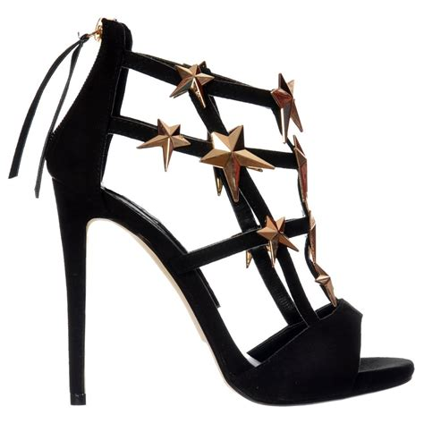 womens black gold gladiator high stiletto heel peep toe