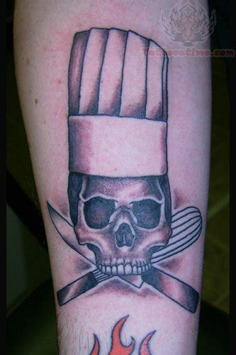 chef hat tattoo skull with chef hat and knife tattoos