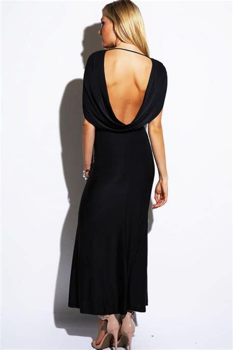 draped backless dress black draped backless evening party maxi dress ea fashion