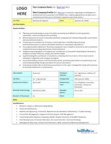 Mechanical Technician Description by Mechanical Engineer Description Template By Bayt