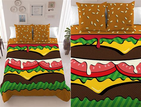 art bedding finally a decent pop art hamburger bed cover geekologie