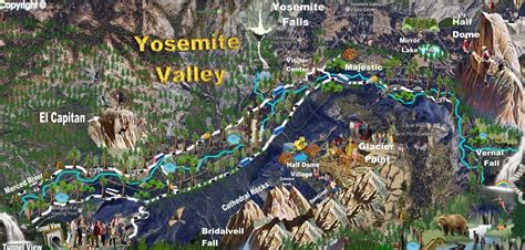 map of valley day hikes to half dome from yosemite valley via vernal