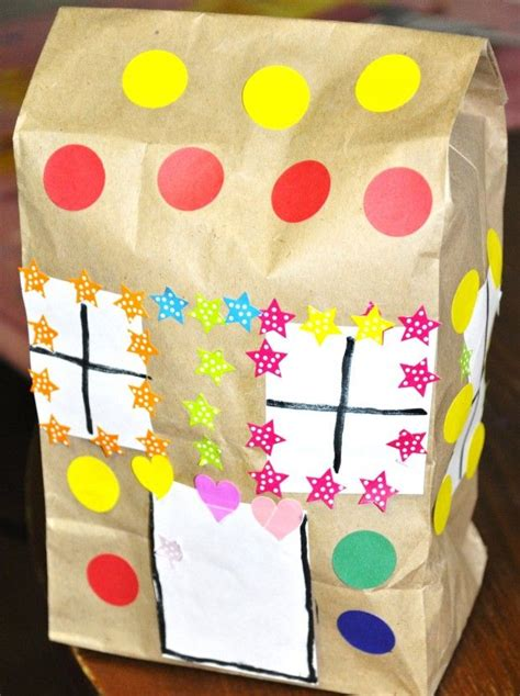 Paper Gingerbread House Craft - paper bag gingerbread house craft theme