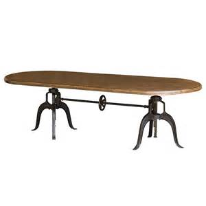 Dining Table As Desk 104 Quot Dining Table Desk Solid Elm Top Industrial Crank Oval Adjustable High Ebay