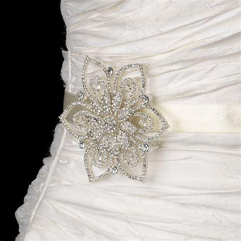 hair accessories brooch fancy wedding costume copper brooch hair silver clear floral brooch bridal sash elegant bridal