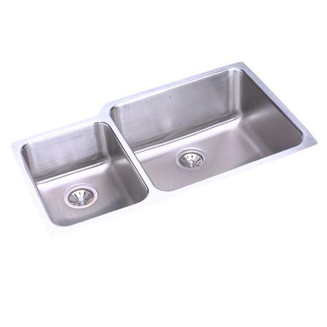 Sinks Kitchen Undermount Elkay Eluh3520 Lustertone Undermount Bowl Basin Kitchen Sink Atg Stores