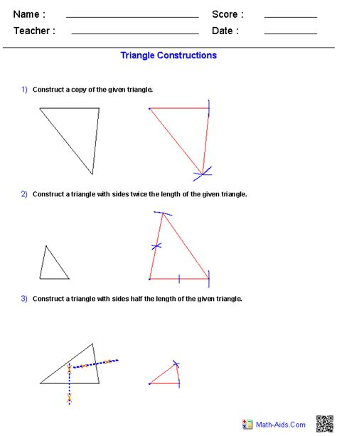 construct a triangle geometry worksheets constructions worksheets