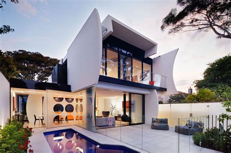 Garage Designs Australia crescent shapes and bright colors feature in this