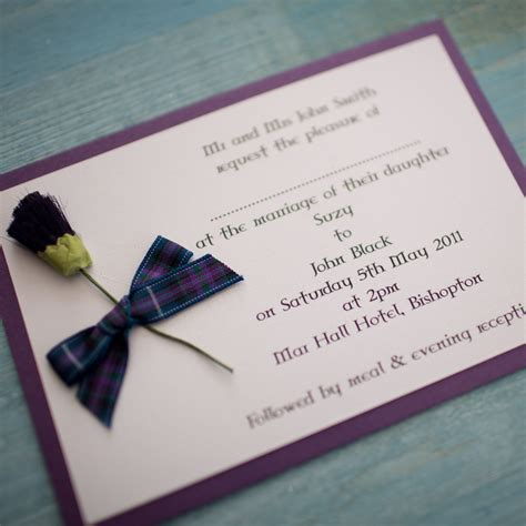 wedding invitations perth scotland tartan thistle wedding invitation pride of scotland