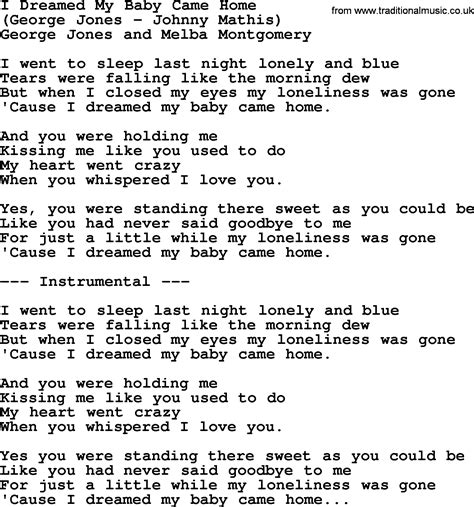 i dreamed my baby came home by george jones counrty song