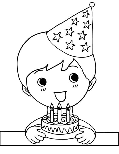 birthday coloring page for boy birthday boy holding three balloons and present coloring