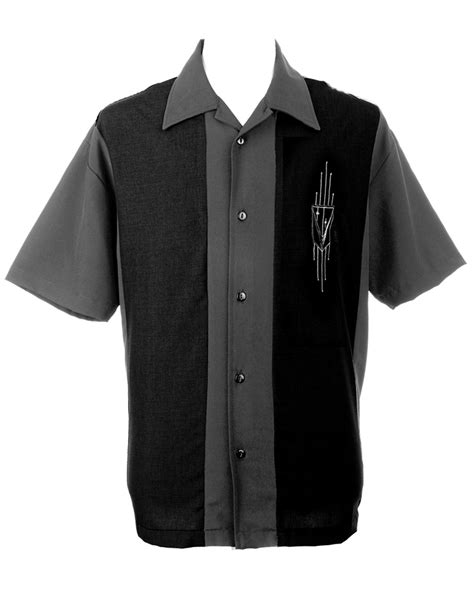 Cressida Shirt Chest Panel Grey mens black grey two panel button retro bowling shirt