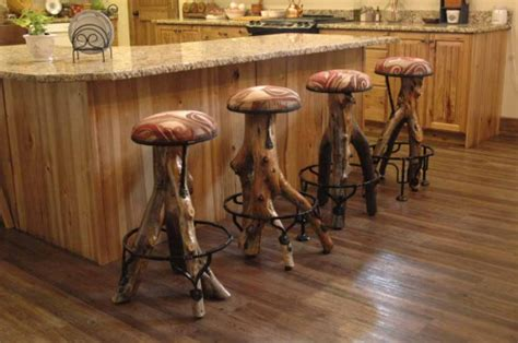 Kitchen Island Stools With Backs by Rustic Log Bar Stool 171 The Log Builders