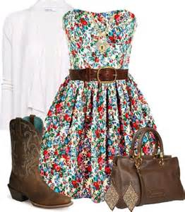 This country outfit flowery dress cowgirl boots belt and white