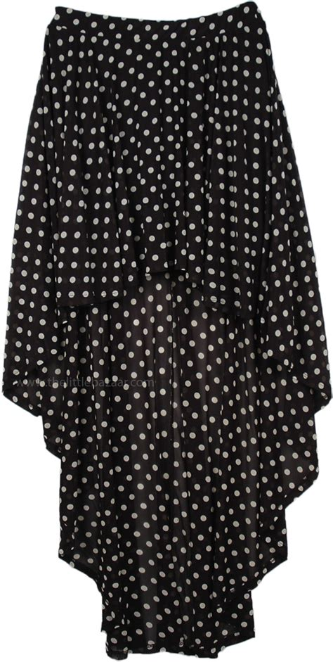 black white polka dot high low dress with accents black white polka dot hi low skirt clothing sale on
