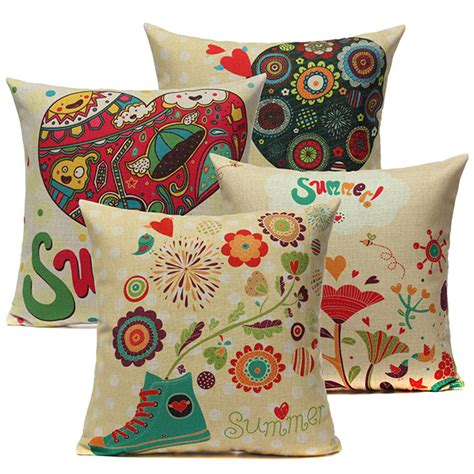 Colorful Pillows For Sofa Linen Colorful Sofa Throw Pillow Cushion Cover Home