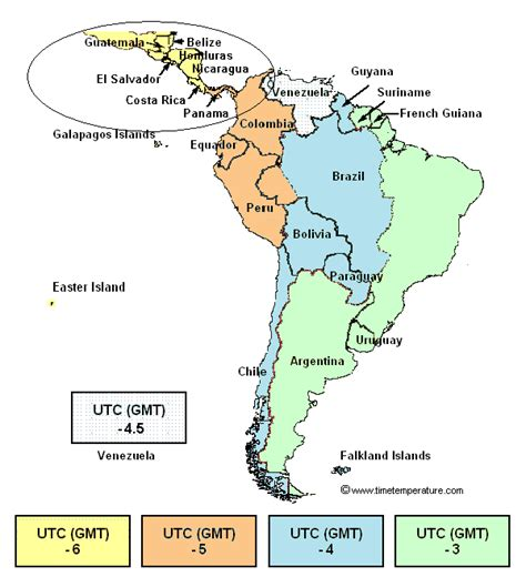 central time map central america time zone map