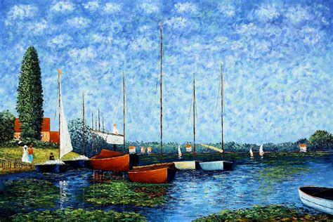 monet boats at argenteuil claude monet red boats at argenteuil oil painting