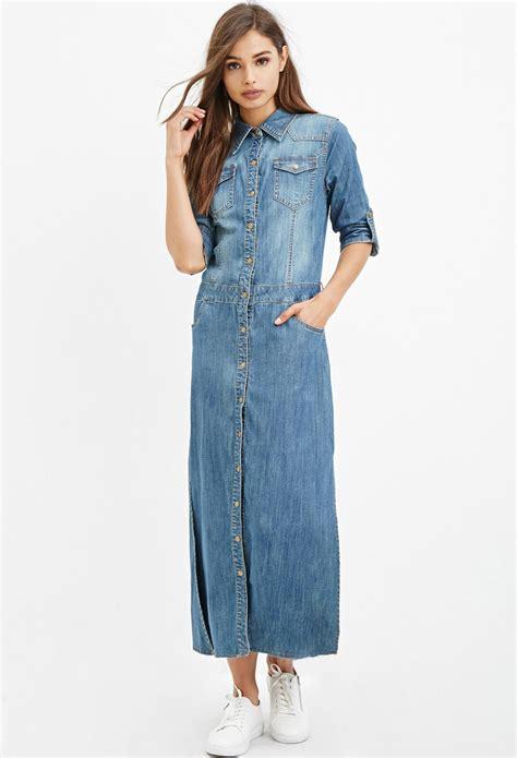 Denima Maxy Dress lyst forever 21 denim maxi shirt dress in blue