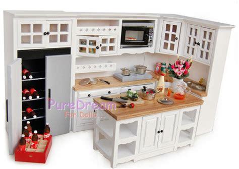 miniature dollhouse kitchen furniture 2018 dollhouse kitchen cabinet w stove basin island box microwave roaster 7pcs ebay