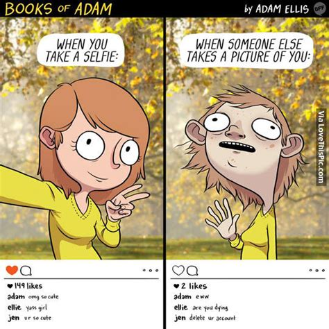 how to take pictures of books when you take a selfie vs when someone takes your photo