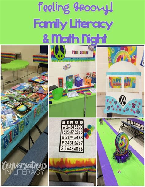 themes of book night feeling groovy on family literacy night