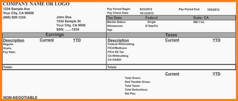 8 Free Payroll Stub Template Pay Stub Format Free Pay Stub Template With Calculator