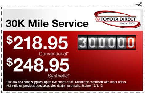 Toyota 30000 Mile Service Toyota Service Center Coupons