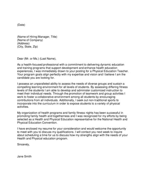 cover letter for health education position letter of application letter of interest for physical