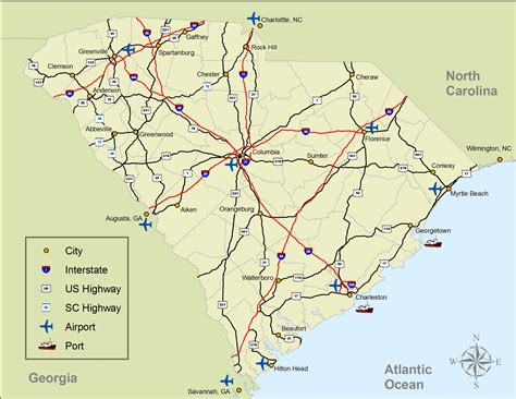 map of carolina major cities major cities towns highways