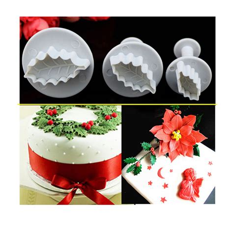3pcs set christmas rose leaf cake icing fondant plunger