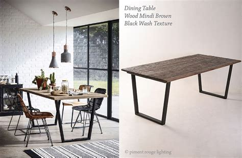 industrial style dining room with wood mindi brown dining