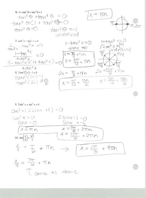 Solving Trig Equations Worksheet With Answers by Mrs Belcher Am3 Q3